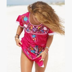 Mexican Dress embroidered Rosa Mexicano Pink Tunic